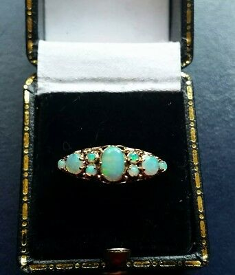 OPAL- (natural)five stone ring 9ct gold.