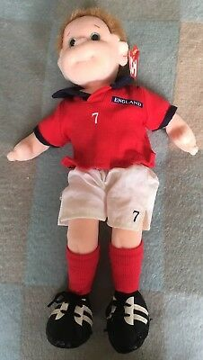 TY Beanie Boppers Footie + Tag Original Soft Toy 2001 Doll UK Exclusive England