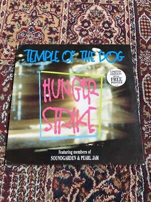 """TEMPLE OF THE DOG Hunger Strike 12"""" VINYL UK A&M 1992 3 Track Limited Edition"""