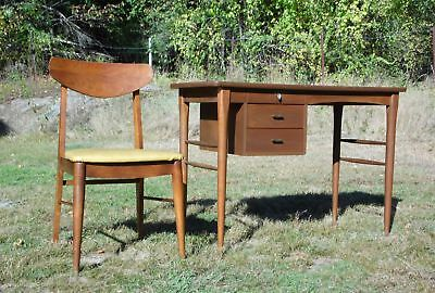 Vintage Mid Century Modern Walnut Floating Writing Secretary Desk & Chair Office