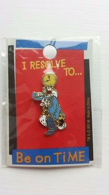 "Sylvester Looney Tunes WB Enamel Pin 1996 ""I resolve to be on time"" VTG NIP"