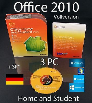 Microsoft Office Home and Student 2010 Vollversion 3 PC Box, DVD + SP1 OVP