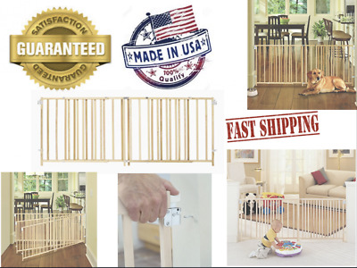Extra Wide Walk Through Baby Gate Swing Fence Pet Dog Gates Wood Wooden Indoor
