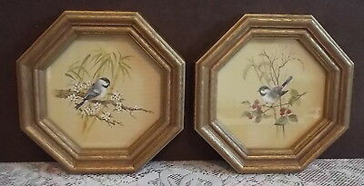 Homco 2 Octagon Framed Chicadee Prints Gold Frame Vintage Art 10-1/8""