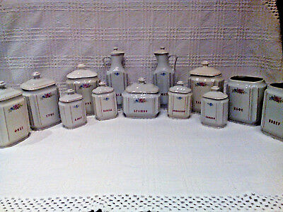 LOT OF 13 VINTAGE PORCELAIN SPICE JARS AND BOTTLE FOR OIL AND VINEGAR 1960s+GIFT