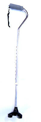 Curved Top Aluminum Walking Cane with Stand Up Triple Base