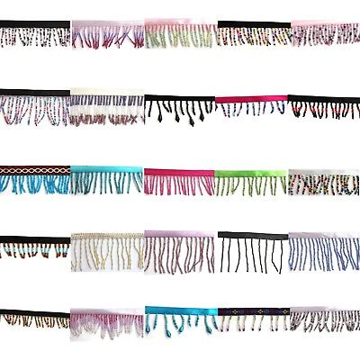 Beaded Trim - Bugle Seed Fringe Edge Trimming Tassel - Dance - 1 metre - 25 Cols