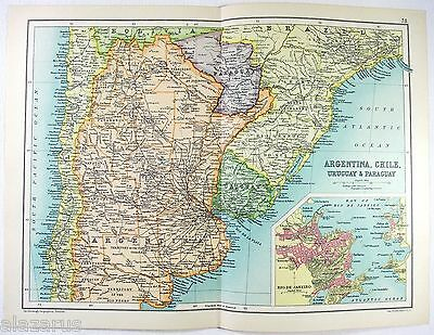 Original 1909 Map of Argentina, Chile, Uruguay & Paraguay by John Bartholomew