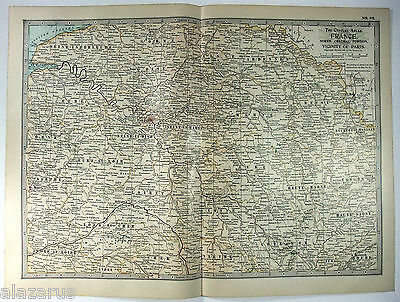 Original 1902 Map of North Central France - A Nicely Detailed Color Lithograph
