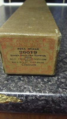 AEOLIAN SONG ROLL,songs from the turkish hills Vintage BOXED Antique