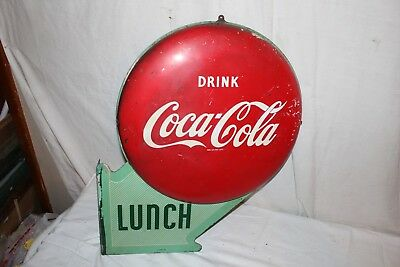 "Rare Vintage 1950 Coca Cola Double Button Soda Pop 2 Sided 23"" Metal Flange Sign"
