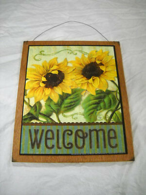 SUNFLOWER WELCOME COUNTRY kitchen wooden wall art sign wood decor ...