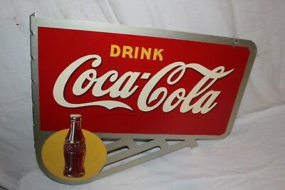 "Rare Vintage 1946 Coca Cola Soda Pop Bottle 2 Sided 24"" Metal Flange Sign"