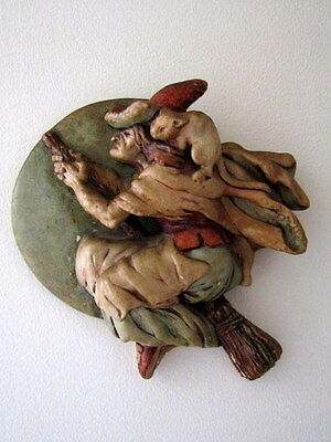 PenDelfin RARE Pendle Witch Wall Plaque by Jean Walmsley Heap,1953, Stoneware