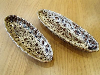 Vintage Fosters Pottery Cornwall Brown Honeycomb Corn on the Cob Dishes X 2