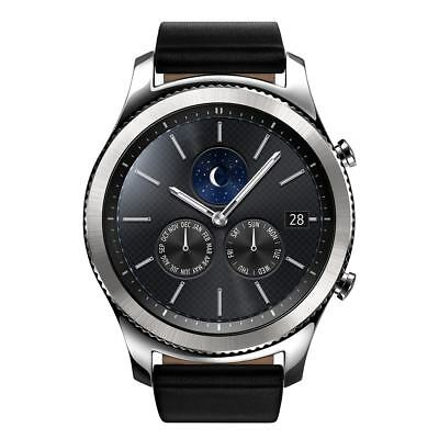 New Samsung Galaxy Gear S3 classic Black 46mm Stainless Steel Case Silver Buckle
