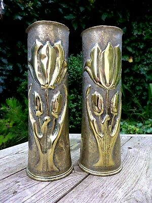 TRENCH ART 1WW, Brass Vase from Shell date 1917 Unique Design Collector Pair