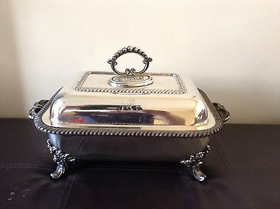 Antique Old Sheffield Silver Plate Crested 5 Piece Serving Entree Dish And Stand