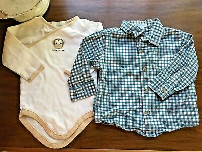 Janie And Jack Baby Boys Size 12-18 Months Shirt Set EUC! Plaid Monkey