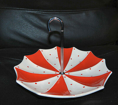 Rare Jessie Tait Midwinter Retro Red & White Polka Dot Umbrella Cake Stand