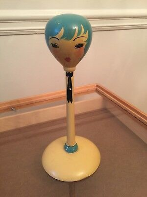 Vintage Flapper Girl Wooden Millinery Hat Stand hand painted NICE