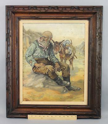 Antique 1929 Carl Lind Western Gold Miner Prospector Burro Mining Oil Painting