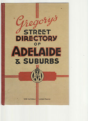 GREGORY'S STREET DIRECTORY ADELAIDE 1936 LIMITED EDITION REPRINT scarce lo