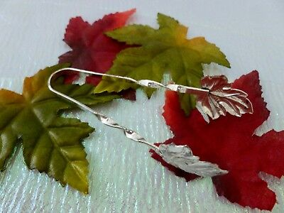 Antique Vintage Sterling Silver Grape or Maple Leaf Sugar Tongs Twisted Handles