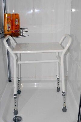 White Shower Stool with adjustable feet and side handles