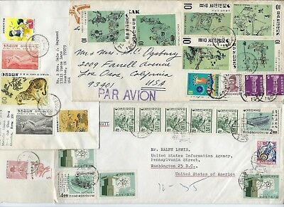 KOREA 1960s COLLECTION OF 9 COMMERCIAL AIR MAIL COVERS ALL TO THE US