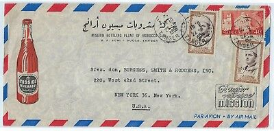 Morocco Us 1956 Advertising Orange Mission Cover Tied Tanger On Air Mail Cover