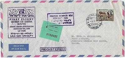 Ethiopia Isreal 1970 First Flight Addis Ababa Jerusalem Queen Of Sheba Route