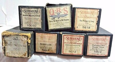 Vintage Player Piano Rolls & Word Rolls Lot of 7 Supertone QRS McConaha