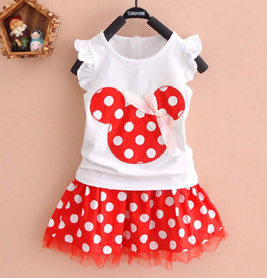 3add25622 NWT Minnie Mouse Baby Girls White Shirt Red Polka Dot Skirt Outfit Set