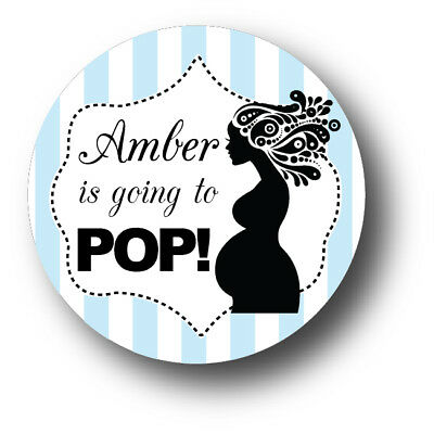30 Ready to POP - Boy Baby Shower Personalized Stickers