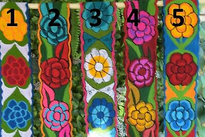 """Colorful Embroidered Flowers Mexican Chiapas Belt(Onesize,adjustable 4"""" Width)A"""