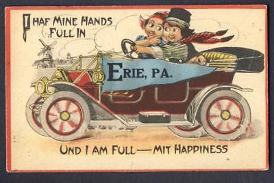 Old maroon convertible car - PENNANT Erie, Pa 1914 - Dutch couple