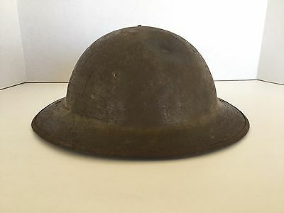 WWI US Army Steel Helmet With Bullet Strike, Shell Only No Liner, Leather Strap