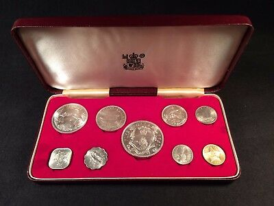 1966 Bahamas 9-coin proof set - 4 silver coins (3 oz.) Unc. with case.