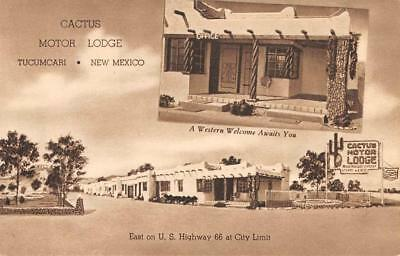 CACTUS MOTOR LODGE Tucumcari, New Mexico Route 66 Roadside ca 1940s Postcard