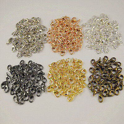 50/100Pcs Silver/Gold/Bronze Lobster Claw Clasps Hook Connector Jewelry DIY 14MM