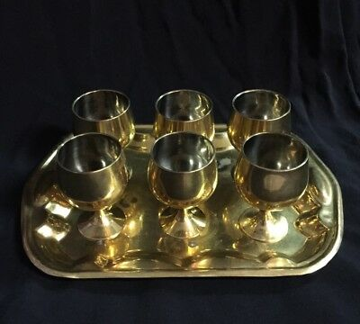Solid Brass Liqueur Goblets With Tray
