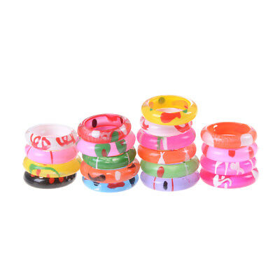10x Fancy Acrylic Resin Kids Rings Mixed Colours Children Kids Costume Gift