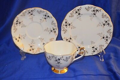 Vintage Queen Anne Tea Cup Saucer & Side Plate - Trio Set - England
