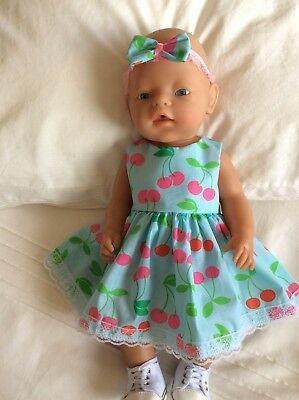 "Doll Clothes to fit 17"" Baby Born doll ~ Dress & hband  ~ Blue Cherries"