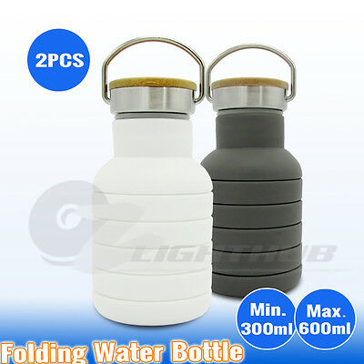 2x Collapsible Silicone Office Gym Water Bottle Outdoor Sport Camping BBQ Kettle