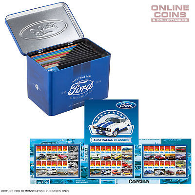 2017 FORD CLASSIC COLLECTION STAMPS AND 50c UNCIRCULATED COIN COLLECTION IN TIN
