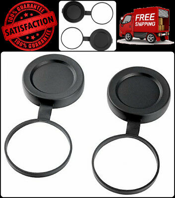 Binocular Lens Cover 8 X 32 Binoculars 32mm Tethered Objective Lens Covers Black