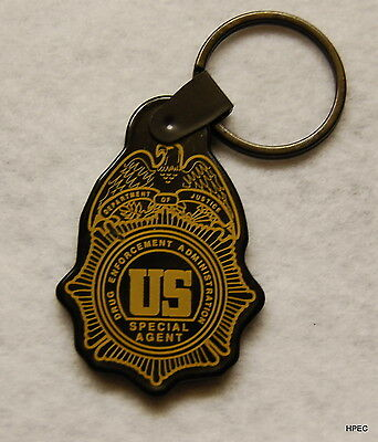US DEA Special Agent Badge black rubber key ring FBI CIA  FEDERAL POLICE ATF NSA