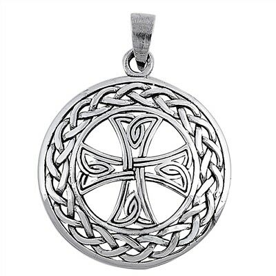 Silver Celtic Cross Pendant Sterling 925 Charm 34mm for a Necklace Black Antique